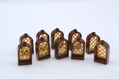 Lego 1x2x2 2//3 Castle Reddish Brown Arch Window and Pearl Gold Lattice Lot of 10