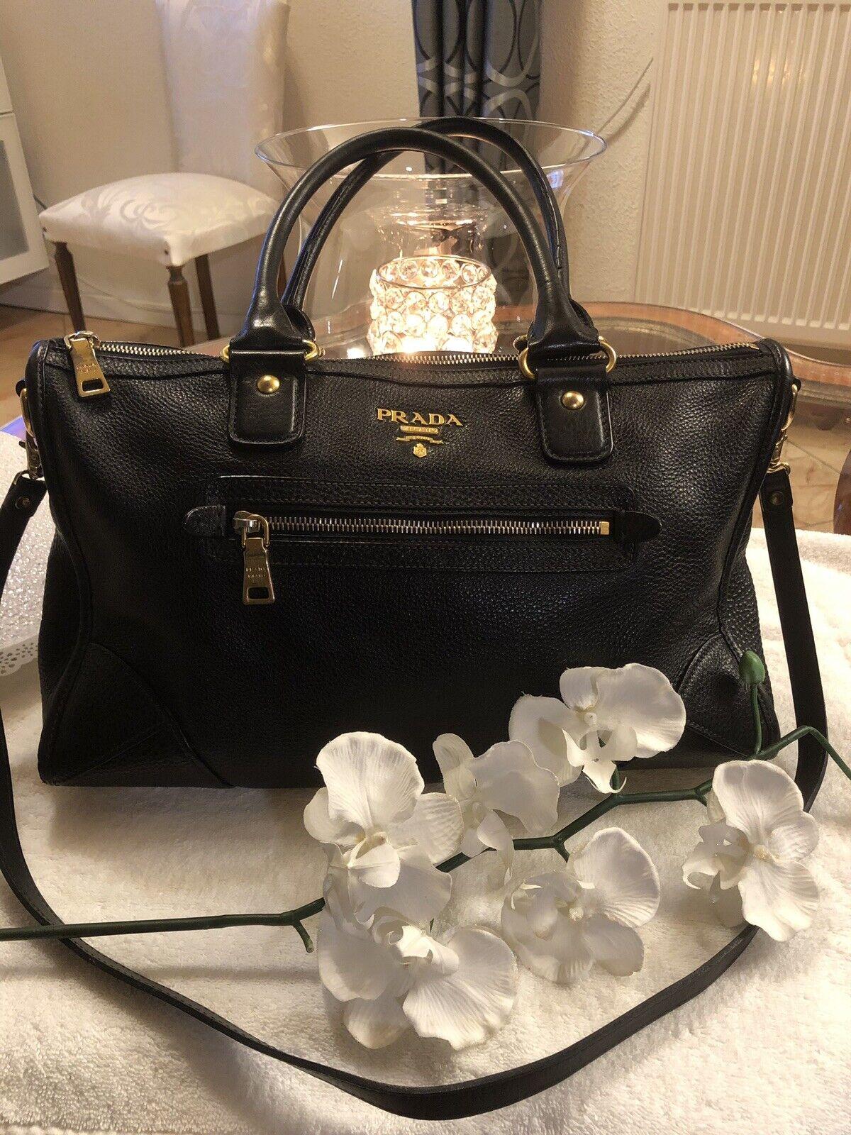 f9575bb2c1203 Original Luxus Prada Prada Prada Hand- und Umhängetasche Schwarz Gold 22ad61