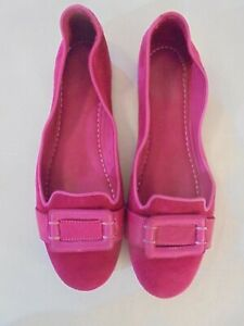 Pantofolo-D-039-oro-Pink-Suede-Leather-Loafer-Flats-Sz-39-8-8-5