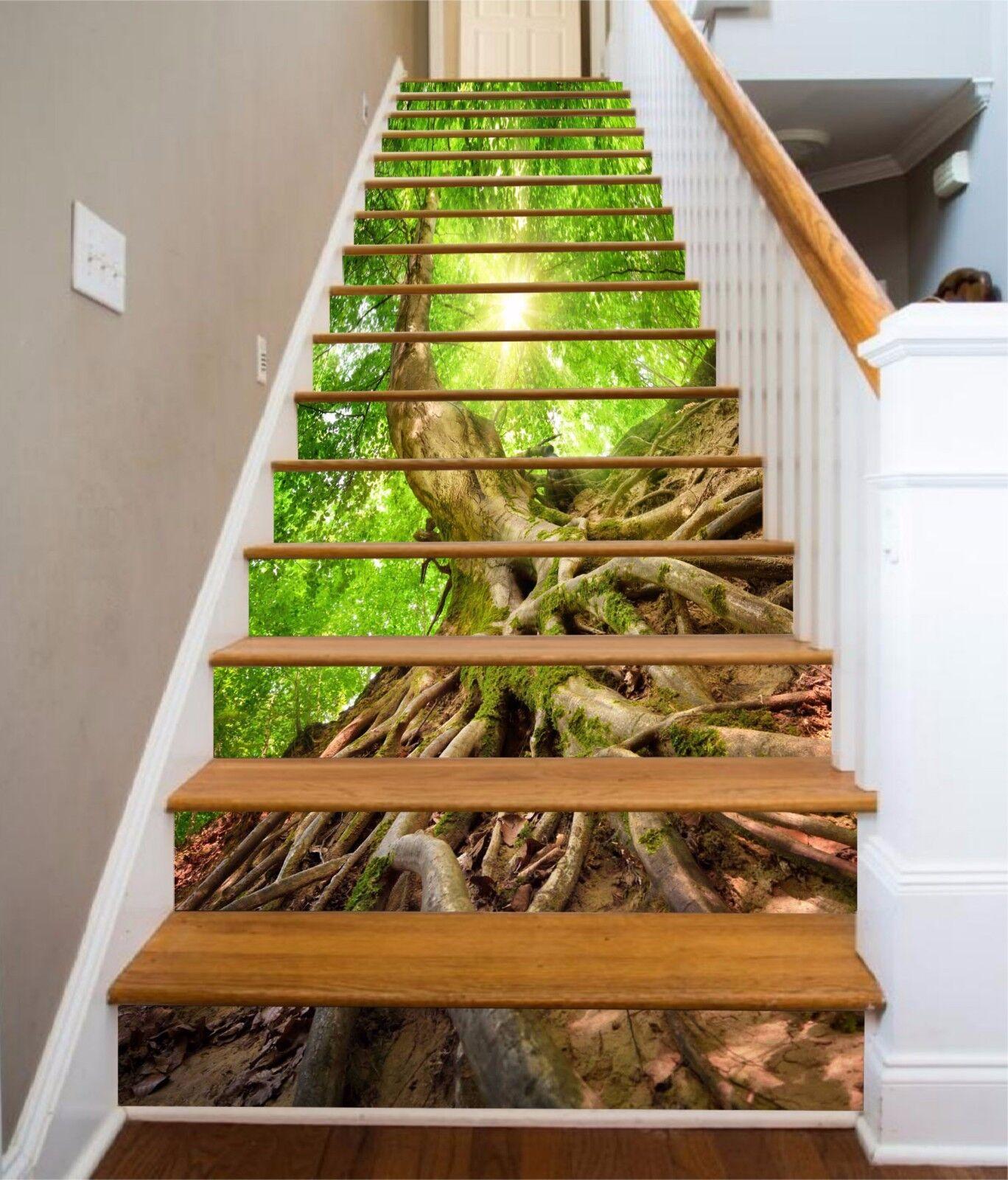 3D Racines d'arbres 218 escaliers contremarches Décoration Photo Murale Autocollant Vinyle Papier Peint US