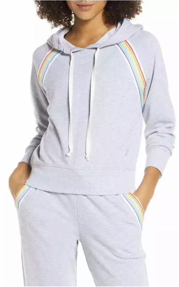 SoulCycle Womens Rainbow Inset Hoodie Heather Grey Size MJumpsuit