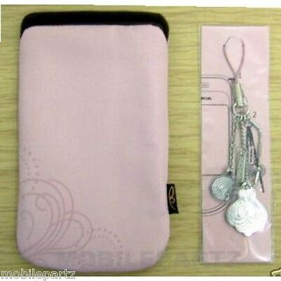 Genuine Nokia Pink 7373 Cloth Pouch / Case & Phone Jewelry Dangle Charms