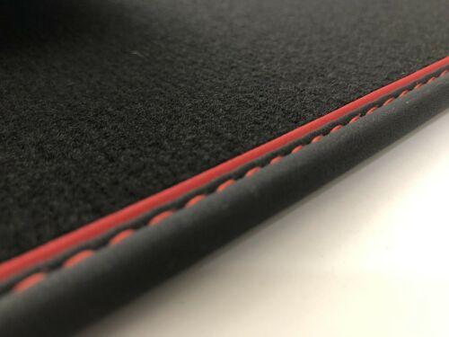 Fußmatten für Skoda Karoq in Velours schwarz Nubukband und farbigem Unterband