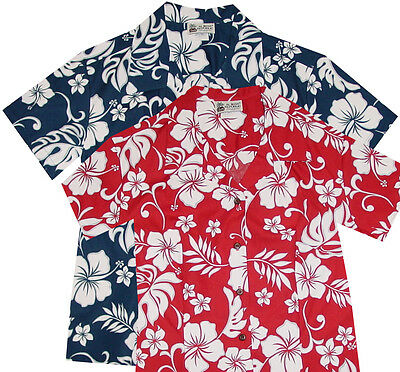 4336849 Blue Red Women's Aloha Hawaiian Shirt Hibiscus Plumeria Flowers Uniform