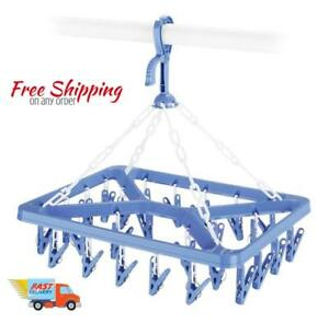 Hanging-Drying-Rack-Clip-and-Drip-Hanger-Air-dry-bras-hosiery-26-Clips-blue