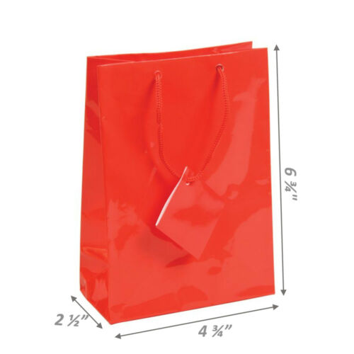 RED GIFT BAGS RED PARTY BAGS HOLIDAY RED BAGS GLOSSY GIFT BAGS WEDDING BAG 20-Pc