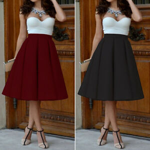 Women Vintage Stretch High Waist Plain Skater Flared Pleated Long ...