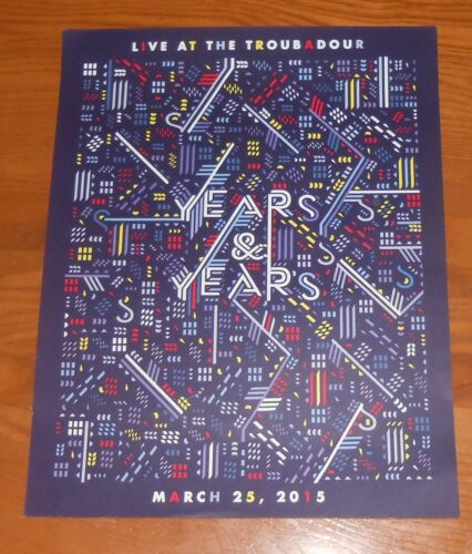 Years & Years Live at the Troubadour Poster 2015 Original Promo 12x15 Electronic