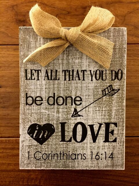 Let All You Do Be Done In Love Bird Fuchsia Florals 8 x 10 Wood Wall Sign Plaque