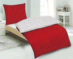 2tlg Wende Microfaser Bettwäsche Weiß Rot Punkte Modern 155x220 Cm