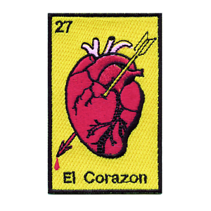 Mexican Lottery Card 27 El Corazon Embroidered Iron On Patch