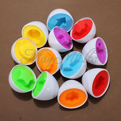6PCS Pairings  Capsule Egg Children Study Color Shape Blocks Educational Toys H