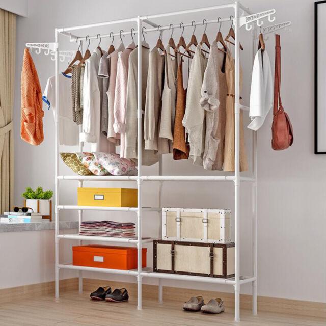 One Portable Closet Organizer Storage Clothes Hanger Garment Shelf Rail Rack Usa