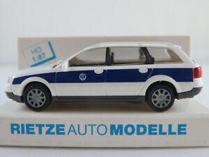 Rietze-50935-Audi-A6-Avant-1998-034-THW-Bayern-034-in-weiss-blau-1-87-H0-NEU-OVP