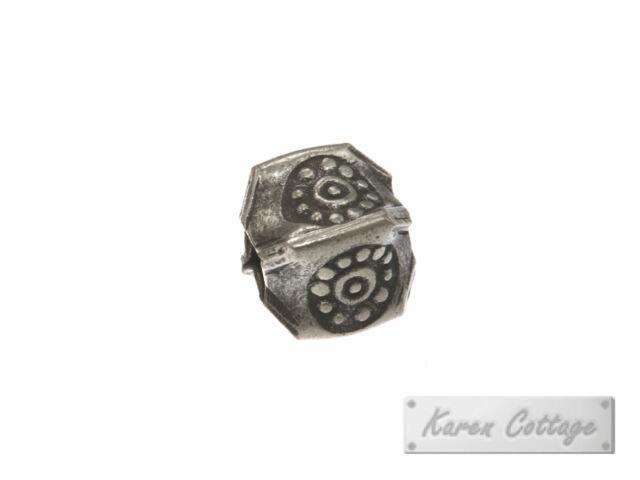 Thai Karen Hill Tribe Silver Bullet Printed Square Pleat Bead ,6 x 6 mm.