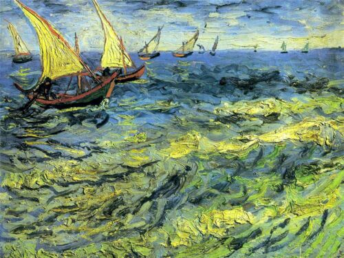 VAN GOGH FISHING BOATS AT SEA OLD MASTER PAINTING PRINT 2815OMLV