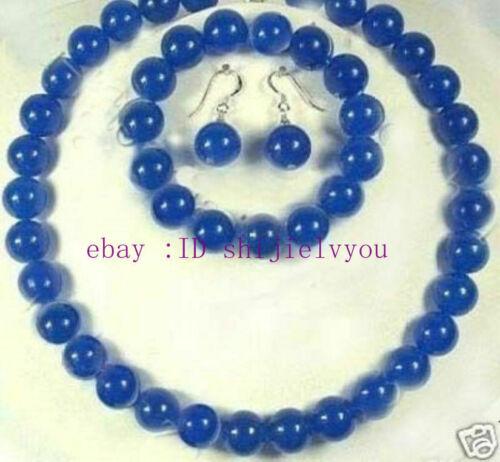 10mm Blue Sapphire Round Necklace bracelet Earring set