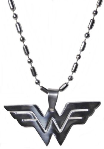 "WONDER WOMAN Logo Stainless Steel PENDANT w// 26/"" Chain"