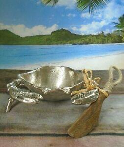 Pier 1 Polished Aluminum Crab Bowl Wood Spreader Set Ebay