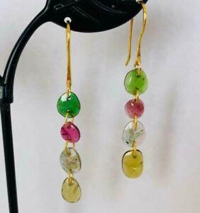 18K Gold Sterling Silver Tourmaline Earrings Multi Gemstone Green Pink Yellow