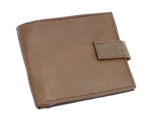 MENS REAL LEATHER SLIM WALLET WITH CREDIT CARD ID ZIP COIN POCKET PURSE 421BROWN