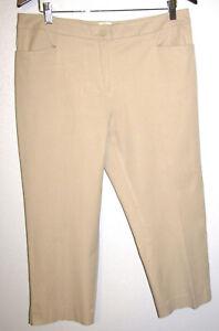Talbots Petites Women's Curvy Fit Tan Stretch Cotton Cropped Pants Size 12P New