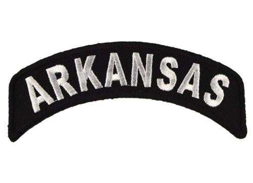 "Arkansas Rocker Patch State of Arkansas MC Biker Embroidered 4/"" Iron On FAST SHP"