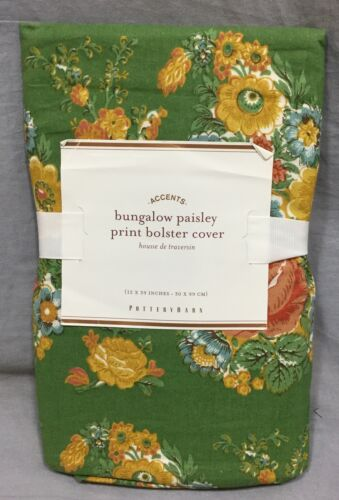 Pottery Barn Green Bungalow Paisley Floral Organic Bolster Pillow Cover