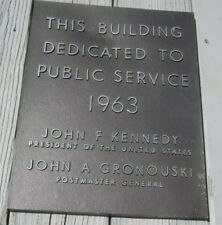 1963 Postal Dedication Plaque USPS United States Post Office John F Kennedy JFK