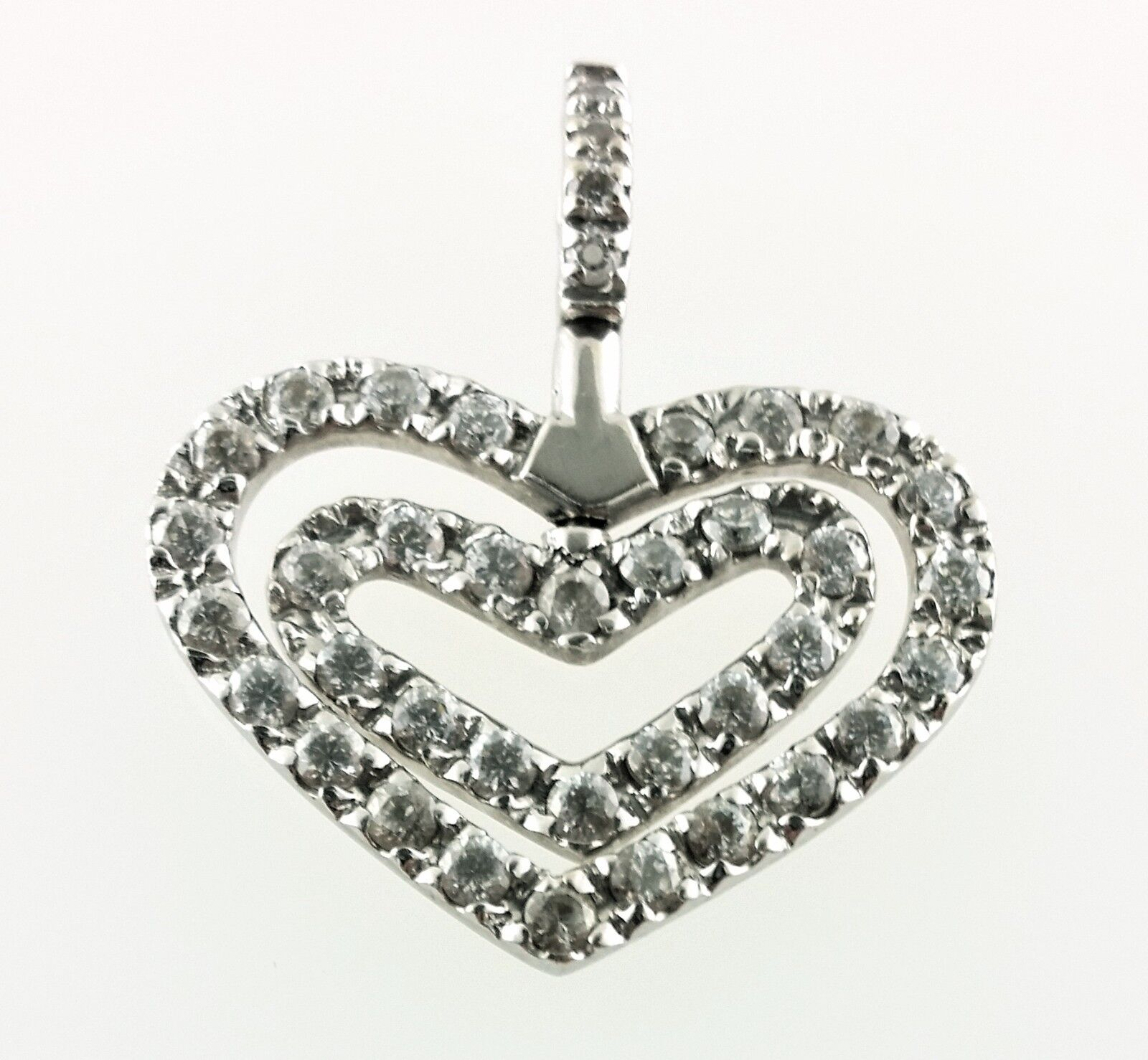 a76f4767ca68 14k White gold Turning Pendant Double Heart qfbyum7046-Other Fine  Necklaces, Pendants