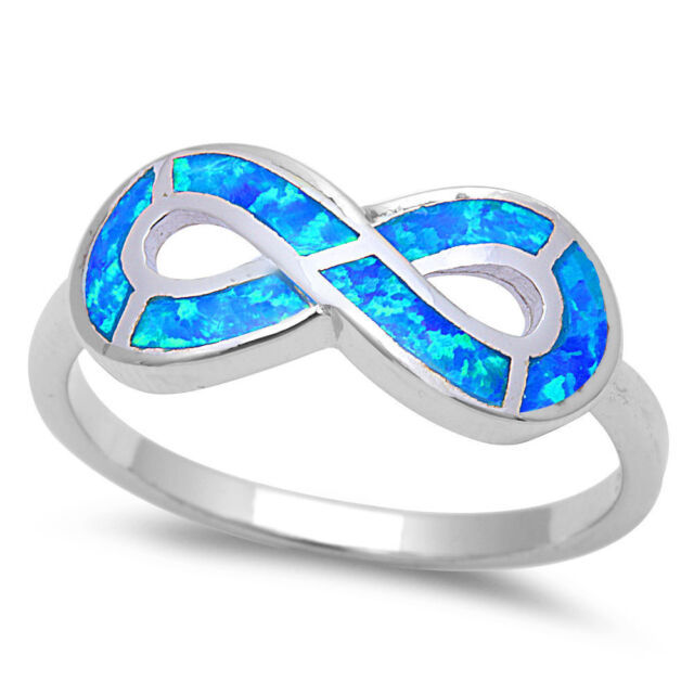 Blue Opal Infinity Symbol .925 Sterling Silver Ring Sizes 4-12