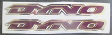 "Set of 2 (6 1/2"" Inch) GT DYNO Frame/Downtube/Decal Stickers PURPLE/GOLD/CHROME"