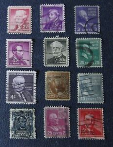 Y-1-sellos-USA-lot-12-stamped-EE-UU-Presidentes-usados