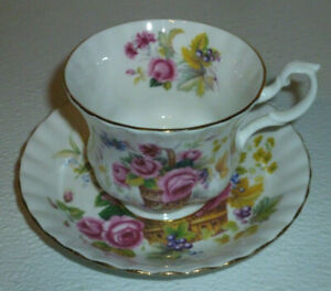 Royal-Albert-Cup-and-Saucer-Set-Flowers-Basket-Vtg-England