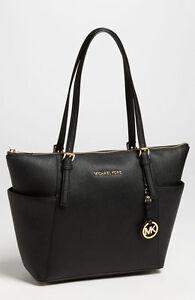 e3c6b02710cc MICHAEL Michael Kor Jet Set BLACK Saffiano Leather Tote Bag $248+ | eBay