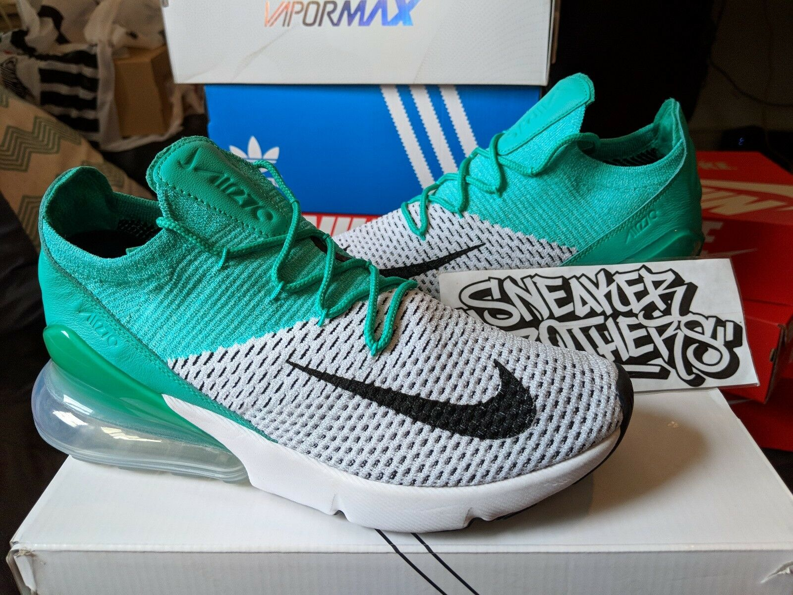 Nike Women's W Air Max 270 Flyknit Clear Emerald Black Pure Platinum AH6803-300 Brand discount