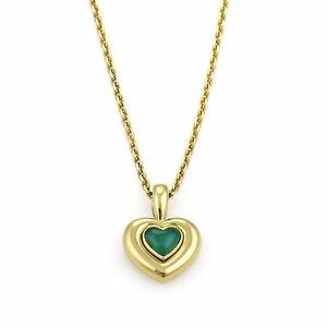 Van cleef arpels green onyx 18k yellow gold heart pendant necklace image is loading van cleef amp arpels green onyx 18k yellow aloadofball Image collections