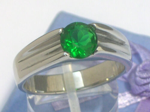 316 Stainless Steel Solitaire May Green Emerald Men Ring Size 5-13 7 mm 2.30 Ct