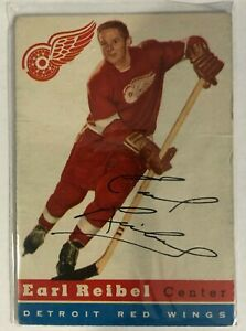 1954-55 Topps Earl Reibel Rookie Card #52 Detroit Red Wings Vintage Old