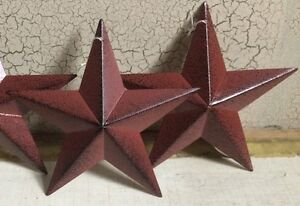 Set-of-2-BURGUNDY-BLACK-BARN-STARS-5-5-034-PRIMITIVE-COUNTRY-DECOR-ANTIQUE