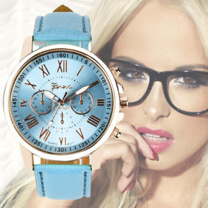 UK-Womens-Fashion-Roman-Numerals-Faux-Leather-Analog-Quartz-Watch-Ladies-Watches