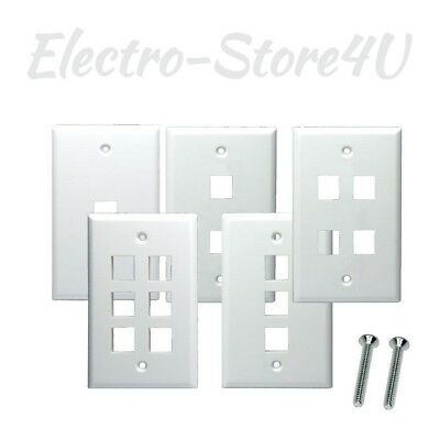4x 1 Port Hole Keystone Jack Wall Plate 1-Gang Smooth Faceplate Cat5 Cat6 White