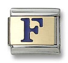 Italian Charm Enamel Letter F 18K Gold Initial 9mm Stainless Steel Bracelet Link
