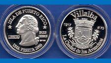 Silver PESETA VILLALBA 2009 Puerto Rico Boricua Quarter 1/100 Plata