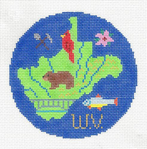 """WEST VIRGINA State 4.25/"""" Ornament handpaintd Needlepoint Canvas by Silver Needle"""