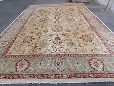 Traditional HandMade Natural Dye Afghan Wool Beige Zigler Large Carpet 490x338cm