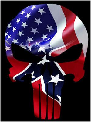 Punisher Waving American Flag Faded Rbl Skull Vinyl Decal