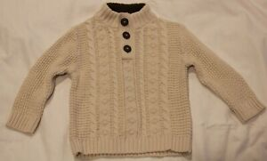 NEW-Cherokee-2T-Cream-Cable-Knit-Pullover-Toddler-Sweater-with-Brown-Collar