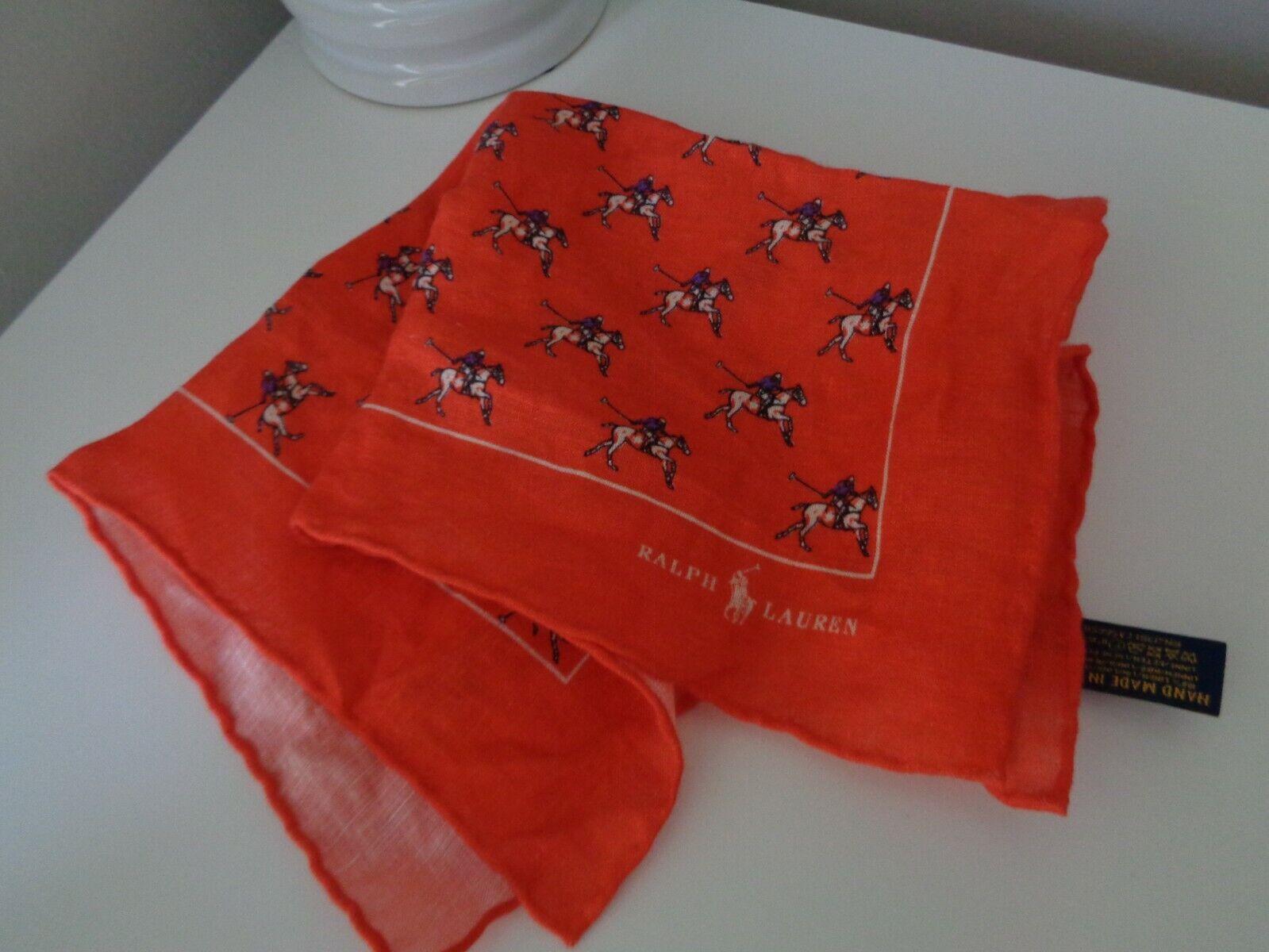 Ralph Lauren Naranja Polo Pony 100% Lino Pañuelo Bolsillo Cuadrado Pañuelo