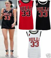 NEW WOMENS LADIES CELEB STYLE  BASEBALL BULLS 33 VARSITY PRINT TOP T SHIRT VEST